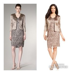 Tahari Lace Dress Suit With Satin Jacket Size 4